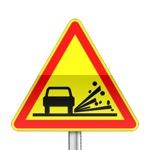 Panneau signalisation temporaire, projection de gravillons