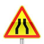 Panneau signalisation temporaire, chaussée rétrécie