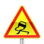 Panneau signalisation temporaire, chaussée glissante