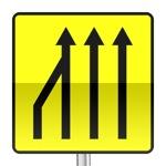 Panneau signalisation temporaire, annonce de la réduction du nombre des voies laissées libres à la circulation sur routes à chaussées séparées