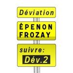 Panneau signalisation temporaire, signalisation complémentaire d'un itinéraire de déviation