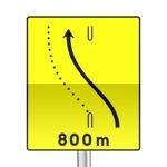 Panneau signalisation temporaire, pré-signalisation de changement de chaussée