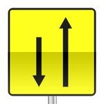 Panneau signalisation temporaire, affectation des voies