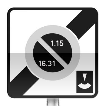 Panneau prescription zone, sortie d'une zone de stationnement unilatéral à alternance semi-mensuelle et à durée limité avec contrôle par disque