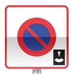 Panneau prescription zone, entrée d'une zone de stationnement à durée limité avec contrôle par disque