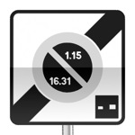 Panneau prescription zone, sortie d'une zone à stationnement unilatéral à alternance semi-mensuelle et à durée limitée avec contrôle par disque