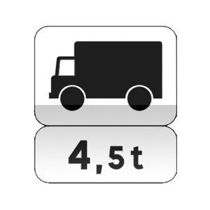 Panonceau désignant les véhicules, véhicules articulés, trains doubles ou ensembles de véhicules affectés au transport de marchandises et dont le poids total autorisé en charge et le poids total roulant autorisé excède le nombre indiqué.