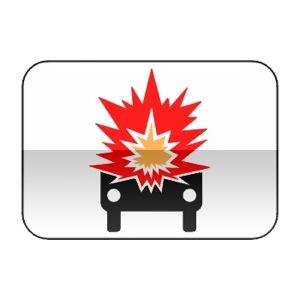 Panonceau désignant les véhicules transportant des marchandises explosives ou facilement inflammables