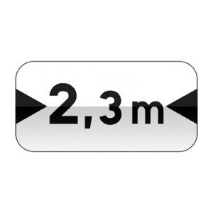 Panonceau désignant les véhicules dont la largeur, chargement compris, est supérieure au nombre indiqué