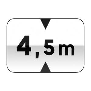 Panonceau désignant les véhicules dont la hauteur, chargement compris, est supérieure au nombre indiqué