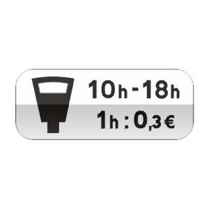 Panonceau indiquant que le stationnement est payant avec parcmètre