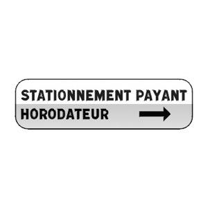 Panonceau indiquant que le stationnement est payant sans parcmètre