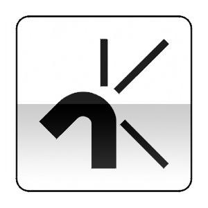 Panonceau schéma représentant par un schéma l'intersection qui va être abordée et indique par un trait large les branches prioritaires