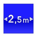 Symbole de direction conseillée aux véhicules dont la largeur, chargement compris, est supérieure au nombre indiqué