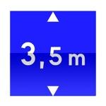 Symbole de direction conseillée aux véhicules dont la hauteur, chargement compris, est supérieure au nombre indiqué