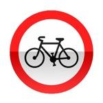 Symbole de signalisation avancée d'une direction interdite aux cycles