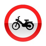 Symbole de signalisation avancée d'une direction interdite aux cyclomoteurs