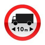 Symbole de signalisation avancée d'une direction interdite aux véhicules affectés au transport de marchandises dont la longueur est supérieure au nombre indiqué