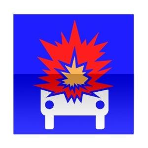 Symbole de direction conseillée aux véhicules transportant des marchandises explosives ou facilement inflammables