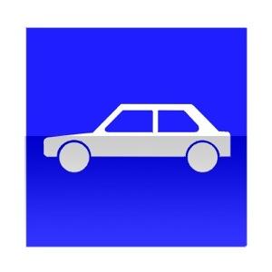 Symbole de direction conseillée aux véhicules dont le poids total roulant autorisé est inférieur à 3,5t