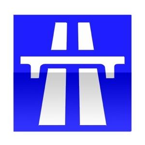 Symbole indiquant le caractère autoroutier sur une partie de l'itinéraire permettant de rejoindre les mentions signalées