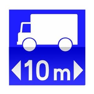 Symbole de direction conseillée aux véhicules affectés au transport de marchandises dont la longueur est supérieure au nombre indiqué