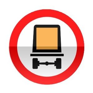 Symbole de signalisation avancée d'une direction interdite aux véhicules transportant des marchandises dangereuses
