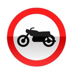 Symbole de signalisation avancée d'une direction interdite aux motocyclettes et motocyclettes légères