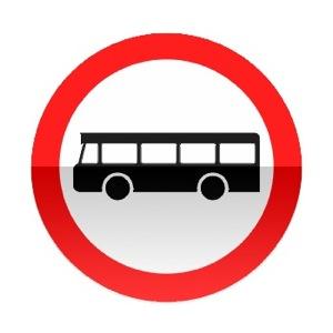 Symbole de signalisation avancée d'une direction interdite aux véhicules de transport en commun