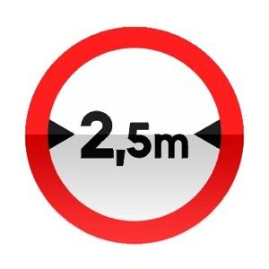 Symbole de signalisation avancée d'une direction interdite aux véhicules dont la largeur, chargement compris, est supérieure au nombre indiqué