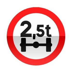 Symbole de signalisation avancée d'une direction interdite aux véhicules pesant sur un essieu plus que le nombre indiqué